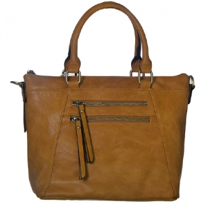 Faux Leather Totes Multi-Pocket Satchel BGW47461 39285 Tan