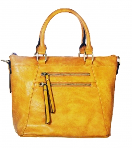 Faux Leather Totes Multi-Pocket Satchel BGW47461 39285 Mustard