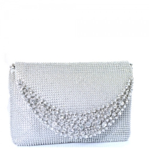 Rhinestone Clutch Purse 0003 39300 Silver