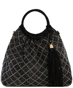Denim Vegan Hobo Bag 61862 39332 BLACK