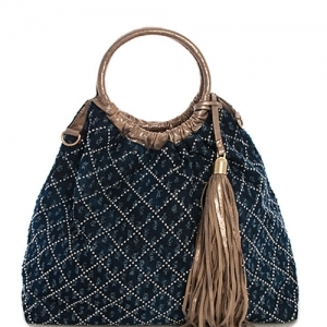 Denim Vegan Hobo Bag 61862 39332 Dark Blue/ Stone