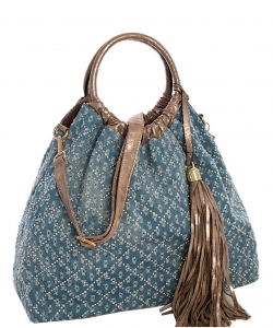 Denim Vegan Hobo Bag 61862 39332 Light Blue/Stone
