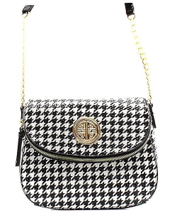 Houndstooth Patent Leather Messanger Bag  H046A 39378 Black