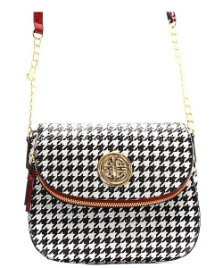 Houndstooth Patent Leather Messanger Bag  H046A 39378 Red