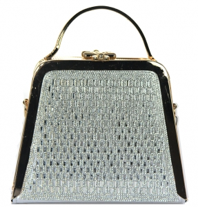 Rhinestone Clutch Purse Bv-105 39521 Silver