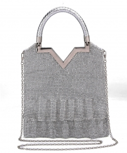 Rhinestone Embellished Evening Bag BV106 SILVER