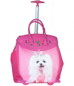 Rollies Classic Doggy Bunny Rolling 14-inch Laptop Travel Tote Bag TMCD2013D 39570 Fuchsia