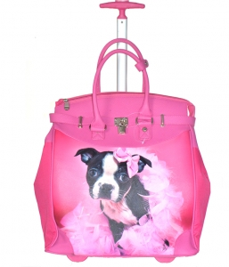 Rollies Classic Cute Bow Doggy's Rolling 14-inch Laptop Travel Tote Bag TMCD2013D 39570 Fuchsia