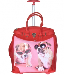 Rollies Classic Cute Pugs Doggy's Rolling 14-inch Laptop Travel Tote Bag TMCD2013D 39570 Red
