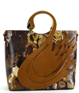 Swan Faux Leather Handbag Shoulder Bag L0431 39584 Tan