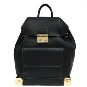 Faux Leather Backpack MY6011 39652 Black