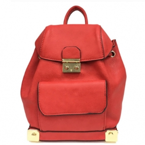 Faux Leather Backpack MY6011 39652 Red