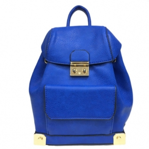 Faux Leather Backpack MY6011 39652 Royal Blue