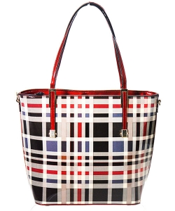 Patent Faux Leather  Plaid Tote Handbag  Gz-6156 39663 Red