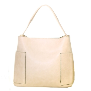 Faux Leather Hobo Shoulder Bag TT6200 39669 Beige