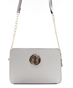 Messenger Handbag  Design Faux Leather Classic Style S038 39711 White