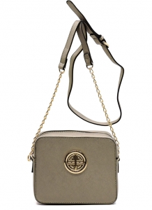 Messenger Handbag  Design Faux Leather Classic Style S039 39721 Pewter