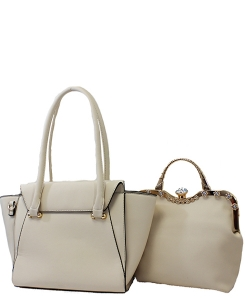 Rhinestone Satchel 2 in 1 Folded Tote Set  Style Handbag Design Faux Leather Handbag Bs1254 39763 Beige