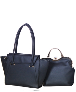 Rhinestone Satchel 2 in 1 Folded Tote Set  Style Handbag Design Faux Leather Handbag Bs1254 39763 Black
