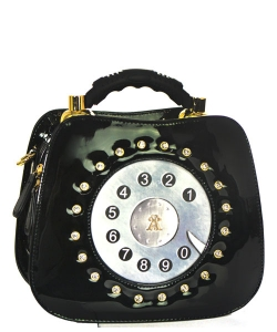 Patent Leather Telephone Handbag WS1083 39767 Black