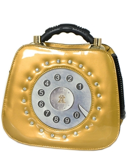 Patent Leather Telephone Handbag WS1083 39767 Gold