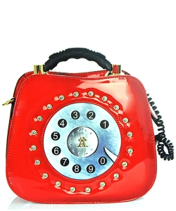 Patent Leather Telephone Handbag WS1083 39767 Red
