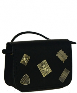 Designed Faux Leather MINI Clutch  CROSS BODY PURSE LS2012 BK