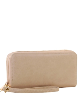 Simple Double Zip-Around Wallet Brick LP0012 BEIGE