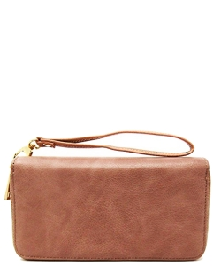 Simple Double Zip-Around Wallet Brick LP0012 DPINK