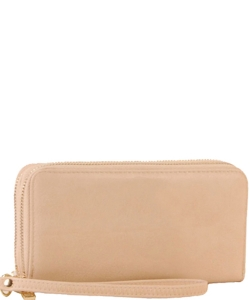 Simple Double Zip-Around Wallet Brick LP0012 NUDE