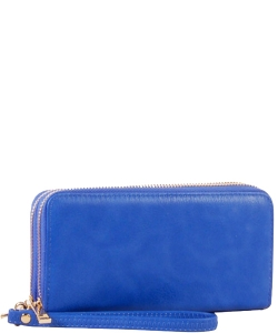 Simple Double Zip-Around Wallet Brick LP0012 RBLUE