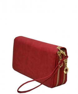 Simple Double Zip-Around Wallet Brick LP0012 RED