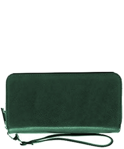 Simple Double Zip-Around Wallet Brick LP0012 TEAL