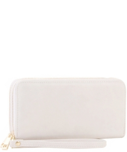 Simple Double Zip-Around Wallet Brick LP0012 WHITE