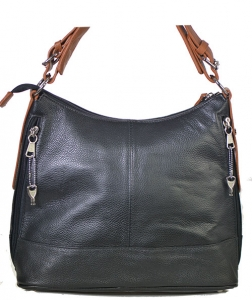 Designer Inspired Genuine Leather Handbag w/ Lock and Key Accent.