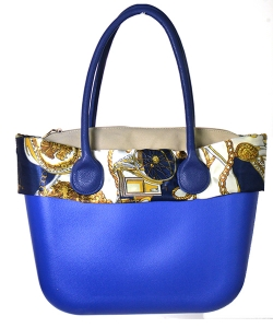 Faux Leather Shoulde Tote Handbag LF16820 39823 Blue