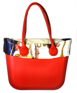 Faux Leather Shoulde Tote Handbag LF16820 39823 Red