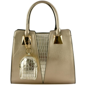 Faux Leather Shoulder Handbag LF1782 39828 Gold