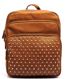 Studed Backpack Design Faux Leather BP1291 39839 Brown