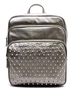 Studed Backpack Design Faux Leather BP1291 39839 Grey