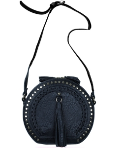 Round Shape Messenger Handbag Design Faux Leather FL1143 39843 Black