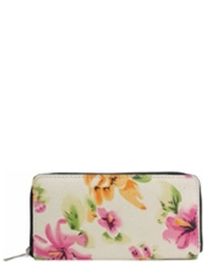 DESIGNER FLOWER ILLUSTRATION SINGLE ZIP AROUND YWD004-1 39896