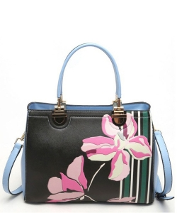 Flower Design Faux Leather Handbag  L0421 39902 Blue