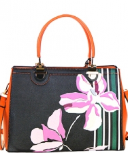 Flower Design Faux Leather Handbag  L0421 39902 Orange