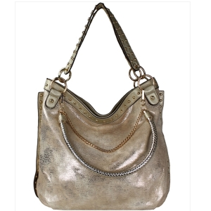Faux Leather Hobo Shoulder Bag SF-908 39907 Champagne