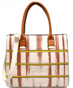 Striped Faux Leather Satchel BS-111  BIEGE