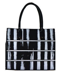 Striped Faux Leather Satchel Bs-111 39926 Black