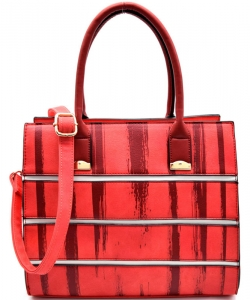 Striped Faux Leather Satchel BS-111  CORAL
