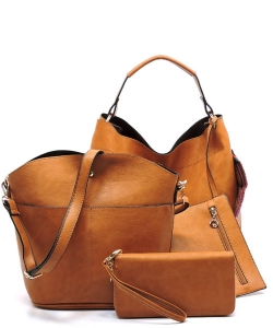 Faux Leather  Tribal  Strap Accent 3 in 1 Handle Satchel SET with Wallet Handbag LP1069 39944 Tan