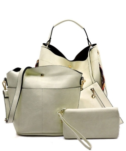 Faux Leather  Tribal  Strap Accent 3 in 1 Handle Satchel SET with Wallet Handbag LP1069 39944 Beige